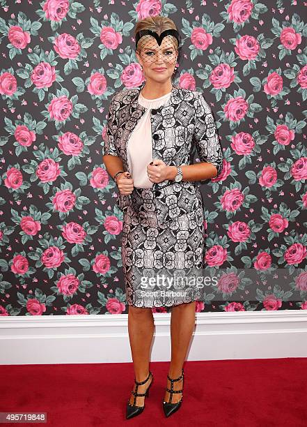 Rebecca Maddern poses at the Emirates Marquee on Oaks Day at Flemington Racecourse on November 5 2015 in Melbourne Australia