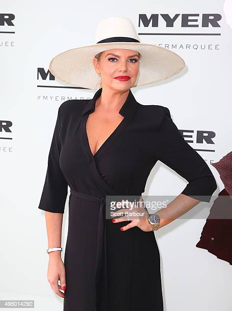 Rebecca Maddern poses at the Myer Marquee on Derby Day at Flemington Racecourse on October 31 2015 in Melbourne Australia