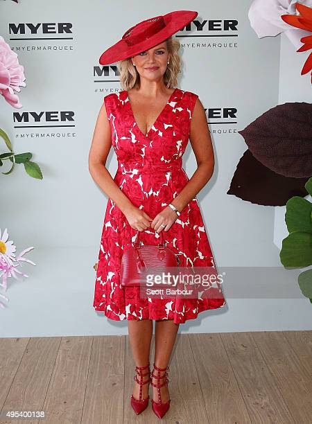 Rebecca Maddern poses at the Myer Marquee on Melbourne Cup Day at Flemington Racecourse on November 3 2015 in Melbourne Australia