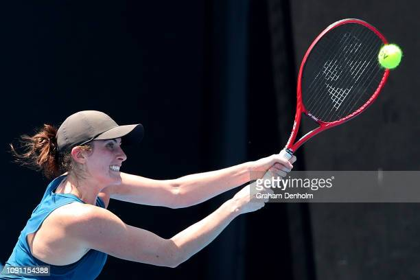 Rebecca Marino of Canada hits a backhand in her match against Caroline Dolehide of the United States during day one of Qualifying for the 2019...