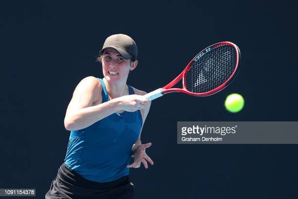 Rebecca Marino of Canada hits a forehand in her match against Caroline Dolehide of the United States during day one of Qualifying for the 2019...