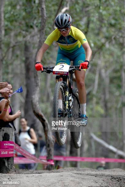 Rebecca McConnell of Australia competes during Mountain Bike on day eight of the Gold Coast 2018 Commonwealth Games at Nerang Mountain Bike Trails on...