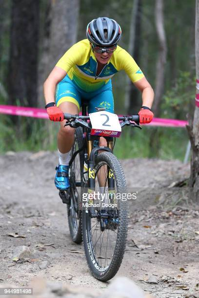 Rebecca Mcconnell of Australia competes during the Women's Crosscountry on day eight of the Gold Coast 2018 Commonwealth Games at Nerang Mountain...