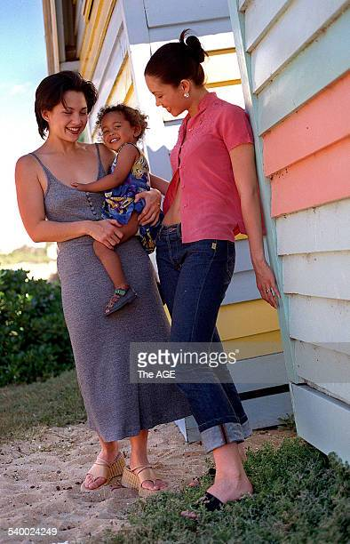 Rebecca Mendoza and her daughter Phoenix with Natalie Mendoza at Brighton Beach 26 November 1998 THE AGE Picture by CRAIG ABRAHAM