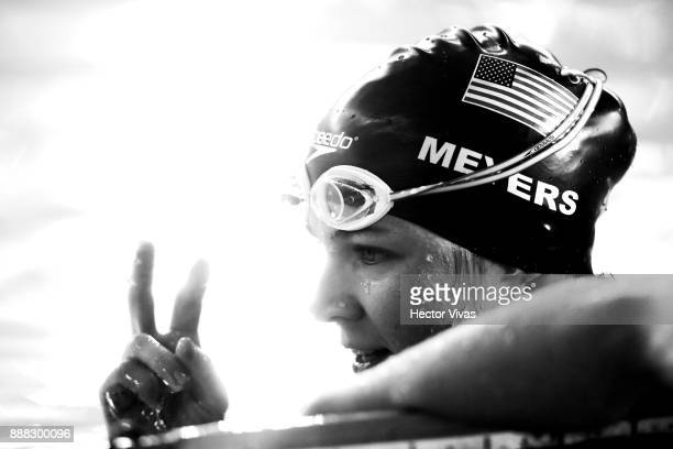 Rebecca Meyers of United States gestures in Women's 100 m Breaststroke SB1113 during day 5 of the Para Swimming World Championship Mexico City 2017...