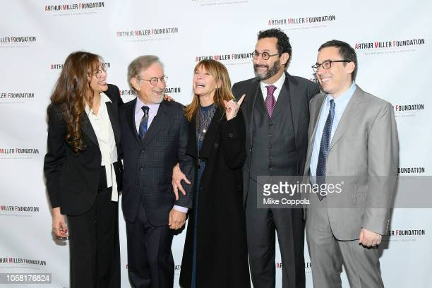 Rebecca Miller, Kate Caphsaw, Stephen Spielberg, Tony Kushner and Mark Harris attend the 2018 Arthur Miller Foundation Honors at City Winery on...