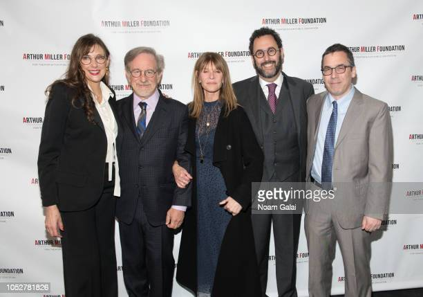 Rebecca Miller, Kate Caphsaw, Steven Spielberg, Tony Kushner and Mark Harris attend the 2018 Arthur Miller Foundation Honors at City Winery on...