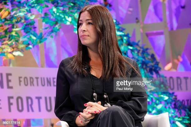 Rebecca Minkoff Cofounder and Creative Director Rebecca Minkoff speaks onstage at the Fortune Most Powerful Women Summit Day 3 on October 11 2017 in...
