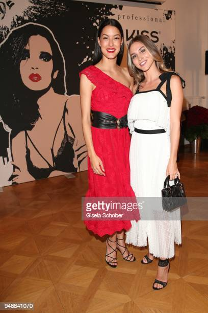 Rebecca Mir and AnnKathrin Broemmel fiance of Mario Geotze during the Kiss New York launch at Kustermann Kochschule on April 19 2018 in Munich Germany