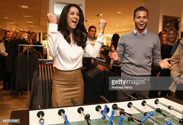 Rebecca Mir and Dennis Diekmeier of HSV attend ANSON'S Fashion Night on October 9 2015 in Hamburg Germany
