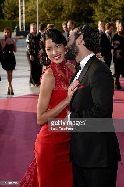 Rebecca Mir and Massimo Sinat attend the Deutscher Fernsehpreis 2013 at the Coloneum on October 2 2013 in Cologne Germany