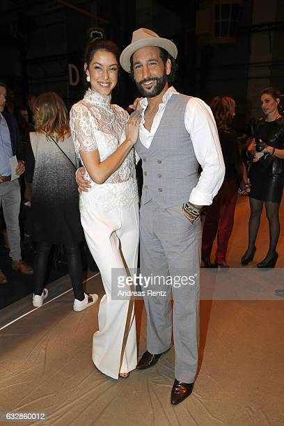 Rebecca Mir and Massimo Sinato attend the Breuninger show during Platform Fashion January 2017 at Areal Boehler on January 27 2017 in Duesseldorf...