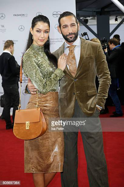 Rebecca Mir and Massimo Sinato attend the Lena Hoschek Arrivals MercedesBenz Fashion Week Berlin Autumn/Winter 2016 on January 19 2016 in Berlin...