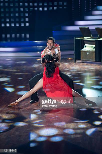 Rebecca Mir and Massimo Sinato perform during 'Let's Dance' 4th Show at Coloneum on April 04 2012 in Cologne Germany