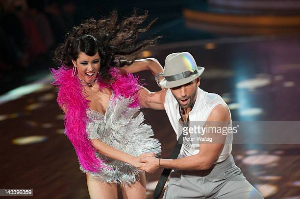 Rebecca Mir and Massimo Sinato perform during 'Let's Dance' 7th Show at Coloneum on April 25 2012 in Cologne Germany