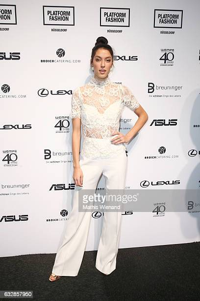 Rebecca Mir attends the Breuninger show during Platform Fashion January 2017 at Areal Boehler on January 27 2017 in Duesseldorf Germany