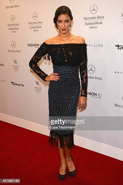 Rebecca Mir attends the Laurel show during the MercedesBenz Fashion Week Spring/Summer 2015 at Erika Hess Eisstadion on July 10 2014 in Berlin Germany