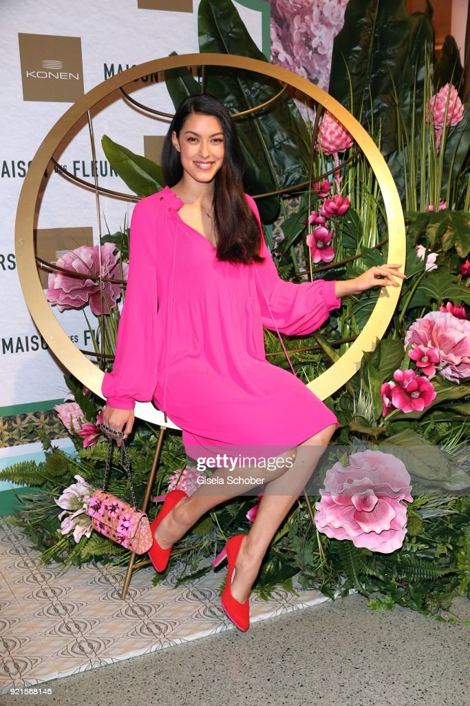 Rebecca Mir during the 'Maison des Fleurs' photo session at KONEN on February 20, 2018 in Munich, Germany.