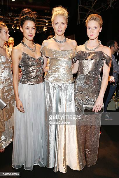 Rebecca Mir, Franziska Knuppe and Kim Hnizdo attend the Minx by Eva Lutz show during the Mercedes-Benz Fashion Week Berlin Spring/Summer 2017 at...