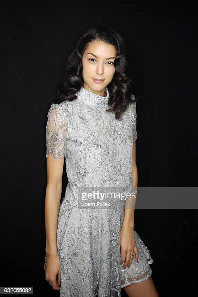 Rebecca Mir is seen backstage ahead of the Ewa Herzog show during the MercedesBenz Fashion Week Berlin A/W 2017 at Kaufhaus Jandorf on January 19...