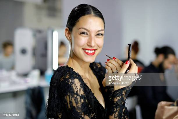 Rebecca Mir is seen backstage ahead of the Unique show during Platform Fashion July 2017 at Areal Boehler on July 22 2017 in Duesseldorf Germany