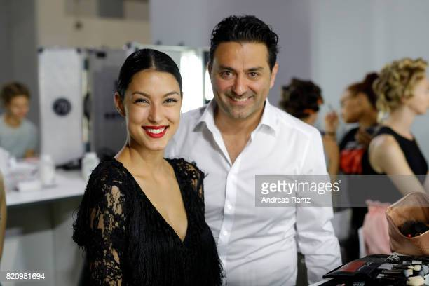 Rebecca Mir is seen backstage with CEO of Unique Shahin Moghadam ahead of the Unique show during Platform Fashion July 2017 at Areal Boehler on July...