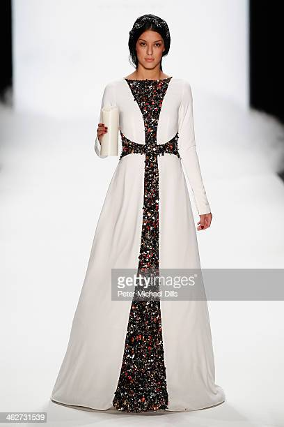 Rebecca Mir walks the runway at the Anja Gockel show during MercedesBenz Fashion Week Autumn/Winter 2014/15 at Brandenburg Gate on January 15 2014 in...