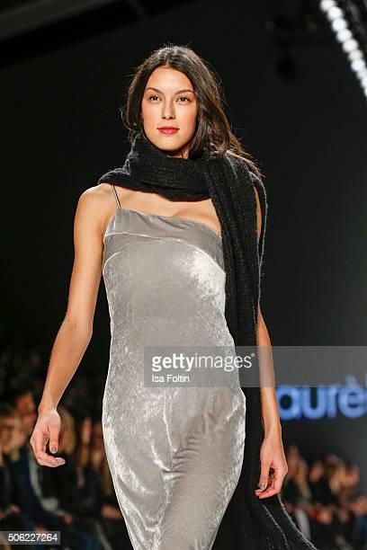 Rebecca Mir walks the runway at the Laurel Show MercedesBenz Fashion Week Berlin Autumn/Winter 2016 on January 20 2016 in Berlin Germany
