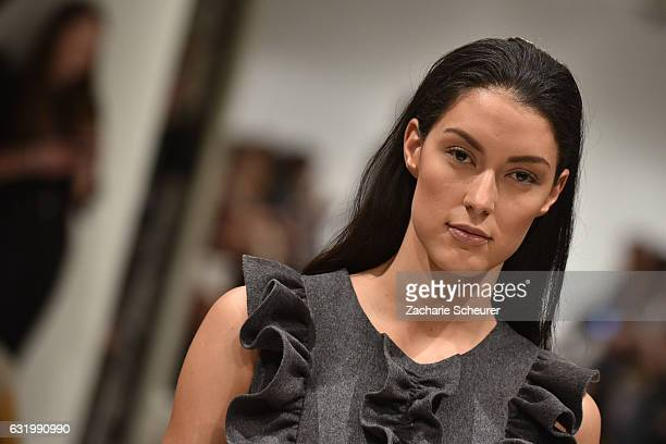 Rebecca Mir walks the runway at the Marcel Ostertag show during the Mercedes-Benz Fashion Week Berlin A/W 2017 at on January 18, 2017 in Berlin,...