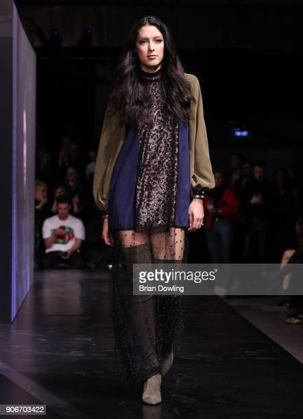 Rebecca Mir walks the runway during the Maybelline Show 'Urban Catwalk - Faces of New York' at Vollgutlager on January 18, 2018 in Berlin, Germany.