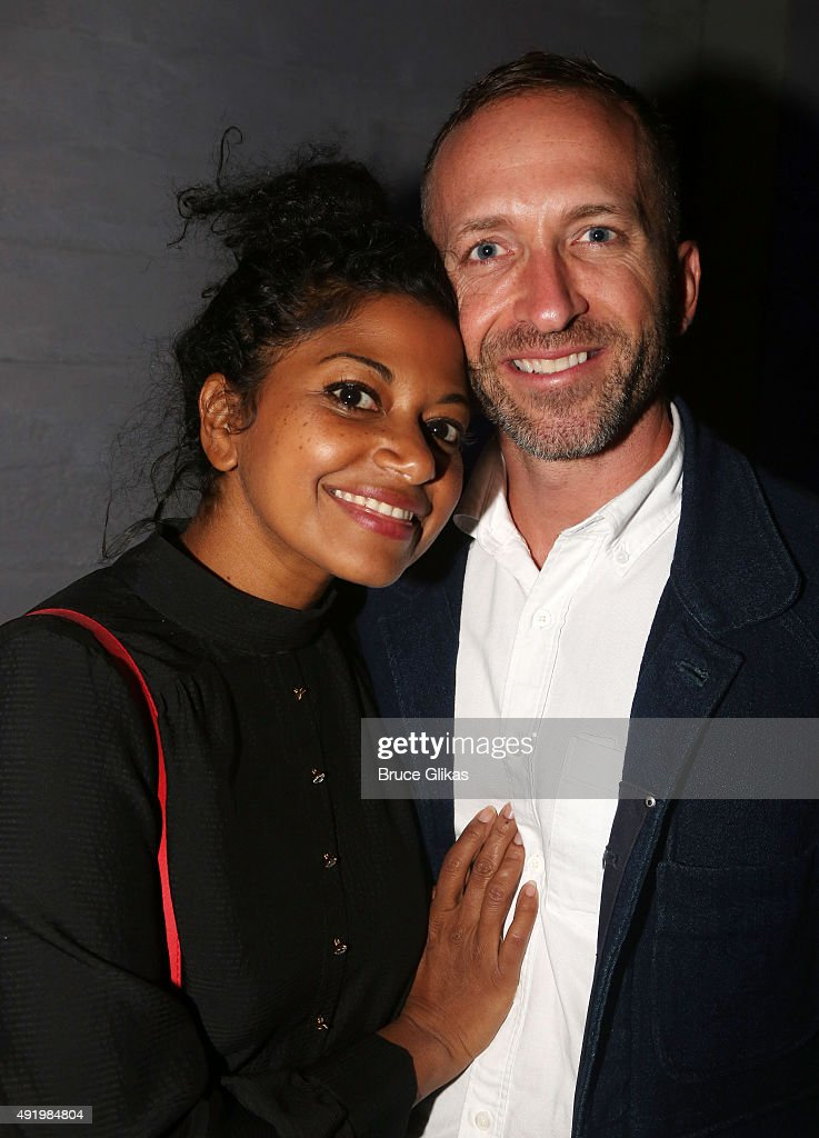 Rebecca Naomi Jones and boyfriend Playwright Kevin Artigue pose at The Opening Night for the MTC production of Sam Shepard's 'Fool For Love' on Broadway at Urbo NYC on October 8, 2015 in New York City.