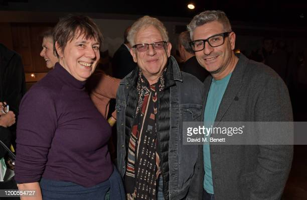 Rebecca O'Brien Jeremy Thomas and Jason Solomons attend a drinks reception celebrating Amanda Nevill as she departs her role as CEO of the British...