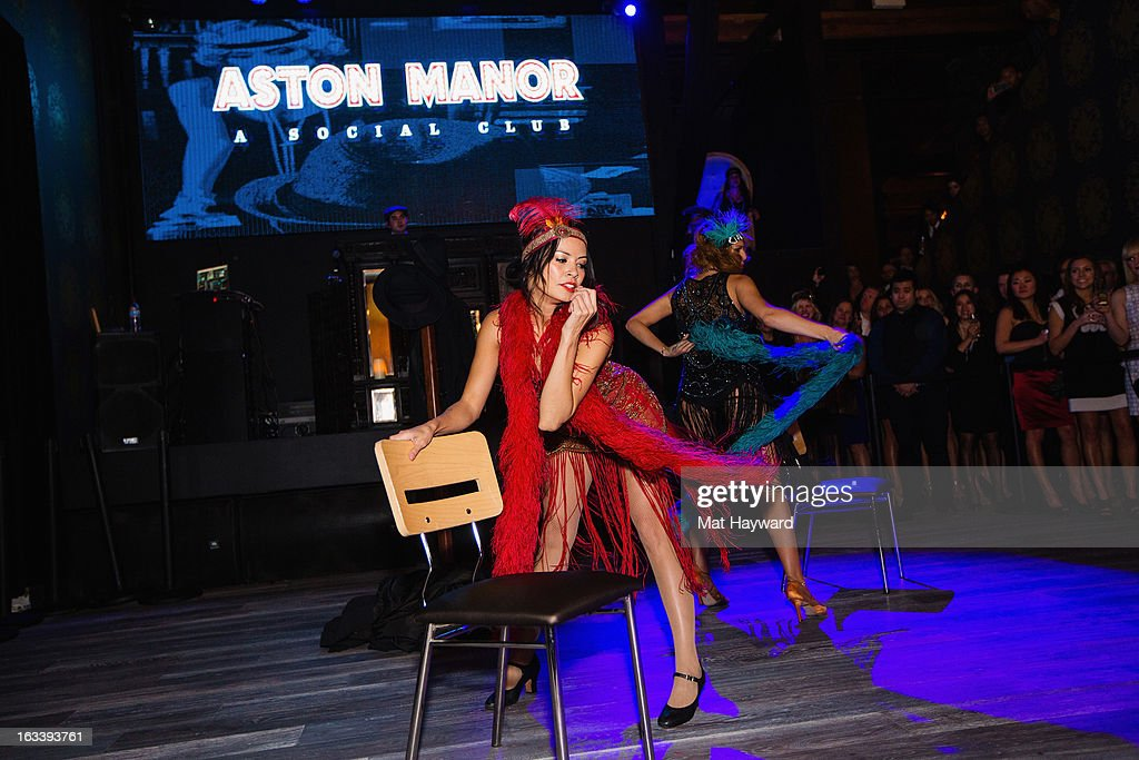 Rebecca Ocampo (L) and Lindsay Rosenberg (R) perform during the Sodo comes alive party at Aston Manor on March 8, 2013 in Seattle, Washington.