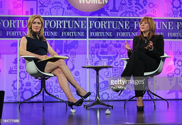 Rebecca Quick and Senior Vice President of Global Market Development of General Motors Mary Barra speak onstage at the FORTUNE Most Powerful Women...