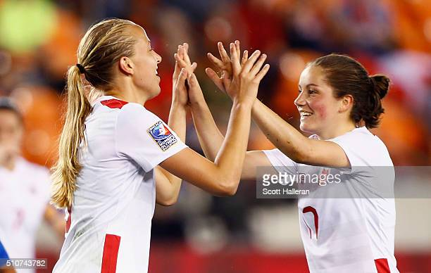 Rebecca Quinn and Jessie Fleming of Canada celebrate after Quinn scored a second half goal against Guatemala during the 2016 CONCACAF Women's Olympic...