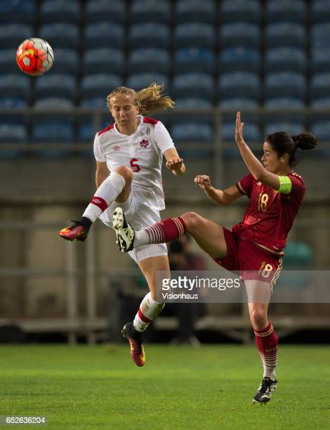 Rebecca Quinn of Canada and Marta Torrejón Moya of Spain during the 2017 Algarve Cup Final between Spain and Canada at the Estadio Algarve on March...