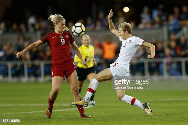 Rebecca Quinn of Canada competes against Lindsey Horan of the United States during a friendly match at Avaya Stadium on November 12 2017 in San Jose...