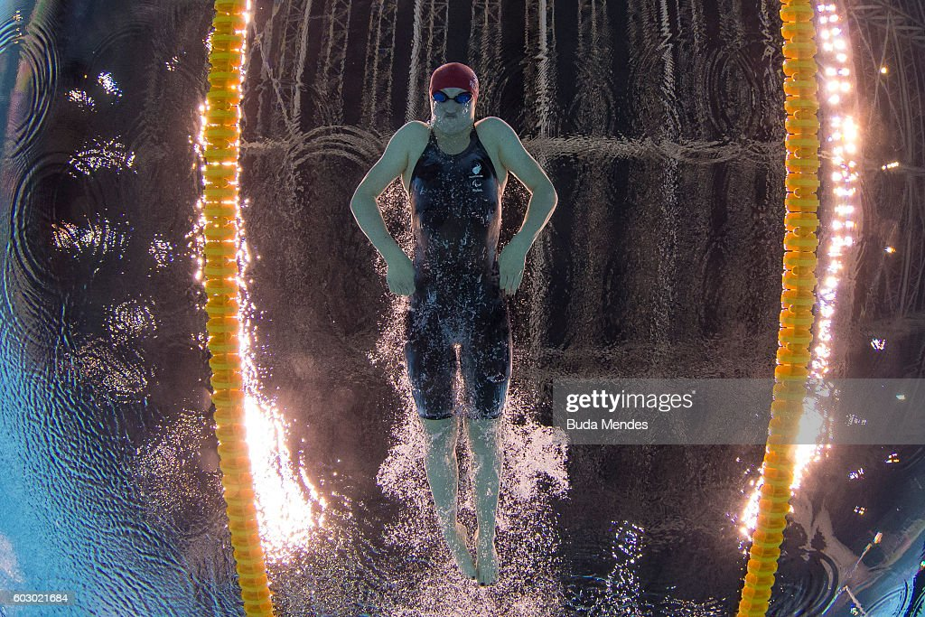 Rebecca Redfern of Great Britain competes in the Women's 100m Breaststroke - SB13 Final on day 4 of the Rio 2016 Paralympic Games at the Olympic Aquatics Stadium on September 11, 2016 in Rio de Janeiro, Brazil.