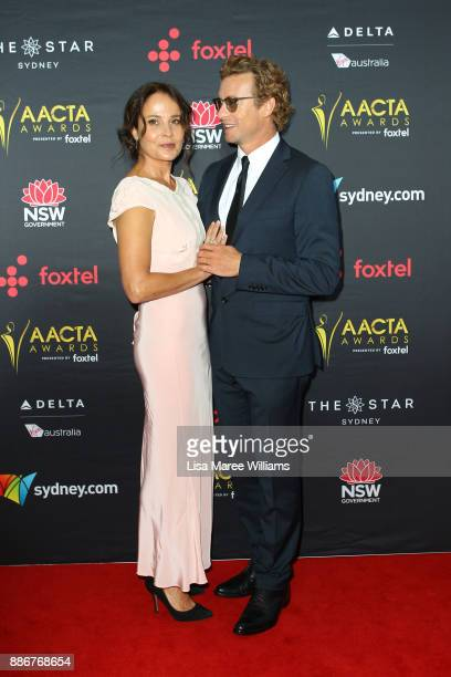 Rebecca Rigg and Simon Baker attend the 7th AACTA Awards Presented by Foxtel | Ceremony at The Star on December 6 2017 in Sydney Australia