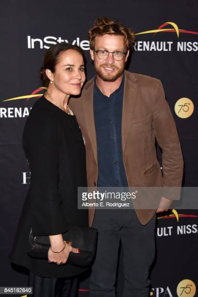 Rebecca Rigg and Simon Baker attend the HFPA InStyle annual celebration of 2017 Toronto International Film Festival at Windsor Arms Hotel on...