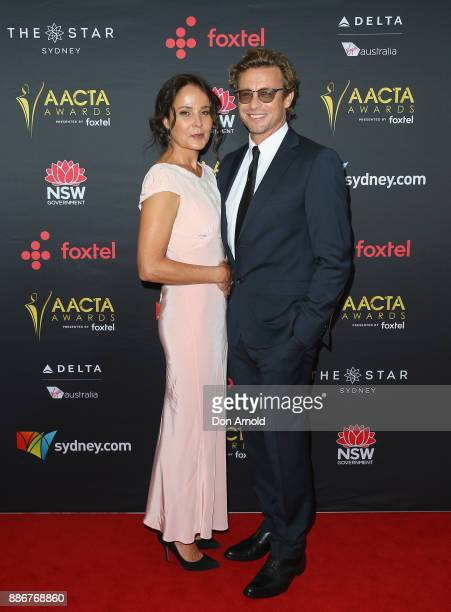 Rebecca Rigg and Simon Baker pose during the 7th AACTA Awards at The Star on December 6, 2017 in Sydney, Australia.