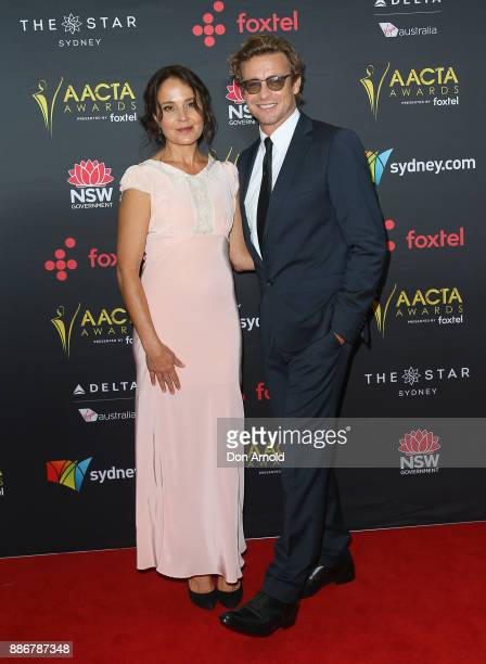 Rebecca Rigg and Simon Baker pose during the 7th AACTA Awards at The Star on December 6 2017 in Sydney Australia