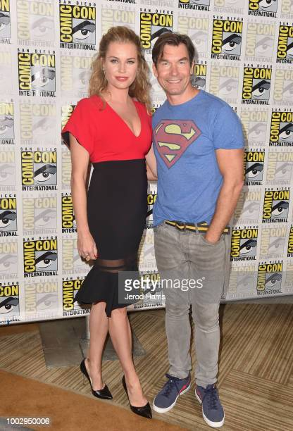 Rebecca Romijn and Jerry O'Connell attend 'The Death Of Superman Press Line during ComicCon International 2018 at Hilton Bayfront on July 20 2018 in...