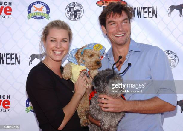 Rebecca Romijn and Jerry O'Connell during The 5th Annual BowWowWeen at Barrington Dog Park in Los Angeles California United States