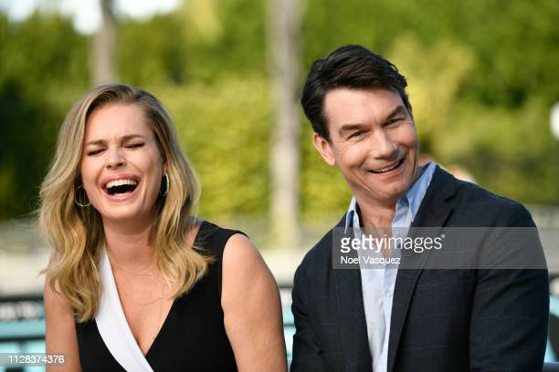 Rebecca Romijn and Jerry O'Connell visit Extra at Universal Studios Hollywood on February 08 2019 in Universal City California
