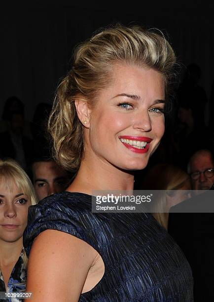 Rebecca Romijn attends the Cynthia Rowley Spring 2011 fashion show during MercedesBenz Fashion Week at The Stage at Lincoln Center on September 11...