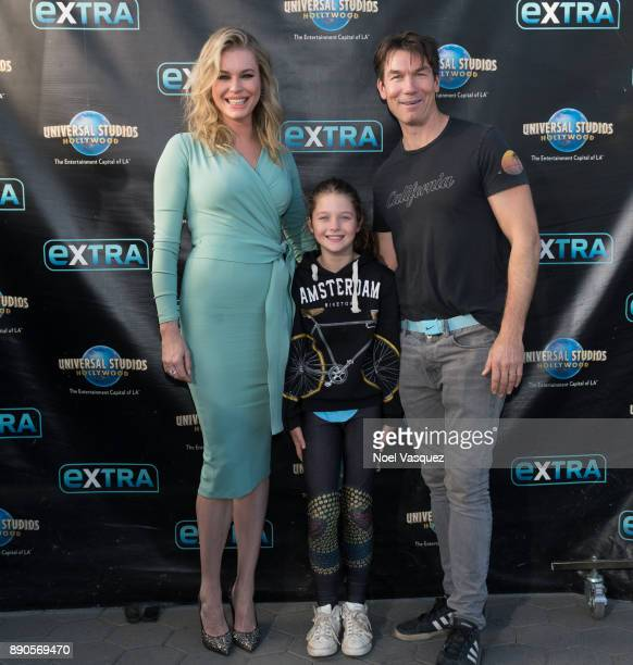 Rebecca Romijn Charlie Tamara Tulip O'Connell and Jerry O'Connell visit Extra at Universal Studios Hollywood on December 11 2017 in Universal City...