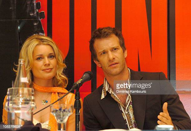 """Rebecca Romijn-Stamos and Thomas Jane during 2004 ShoWest - """"The Punisher"""" Press Conference at Paris Hotel in Las Vegas, Nevada, United States."""