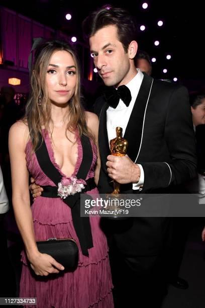 Rebecca Schwartz and Mark Ronson winner of Best Original Song attend the 2019 Vanity Fair Oscar Party hosted by Radhika Jones at Wallis Annenberg...