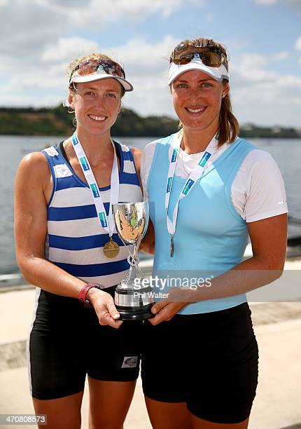 Rebecca Scown and Louise Trappitt win the womens premier coxless pairs during the Bankstream New Zealand Rowing Championships at Lake Karapiro on...